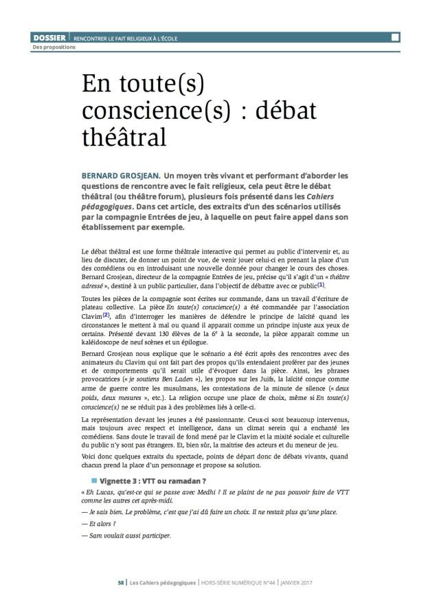 Cahiers pédago En toutes consciences